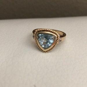 Genuine Aquamarine Trillion-Cut Gemstone Ring, 10K